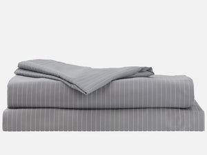 100% Cotton Dove Gray with White Stripes Bed Sheet Set