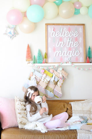 believe in the magic - Indy & Pippa pink tree print background