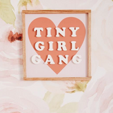 Tiny Girl Gang - White Cutout Letters, Coral Heart