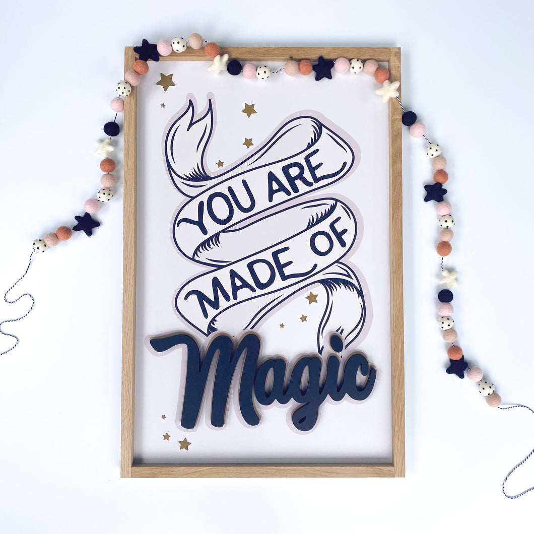 You are made of magic- black letters- Thread Mama Collab