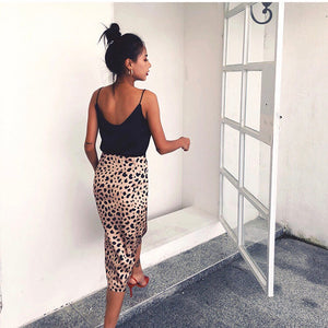 Cordova Leopard Print Midi Skirt (Satin Silk) SkirtFortistFortist