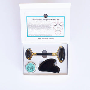 Obsidian Traditional Beauty Set - Beauty Roller and Gua Sha