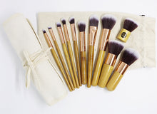 Deluxe Bamboo and Rose Gold 11 piece Makeup Brush Set with Rollup Pouch