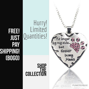 """No longer be my side but forever in my heart"" Pink White Silver Crystal Dogs Heart Necklace - FUNKYDOGGIE"