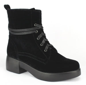 TIRA-01 - velvet combat boots for women - ShoeTimeStores