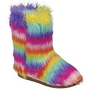 ALICE-11 Faux Fur Winter Rainbow Snow Boots For Ladies
