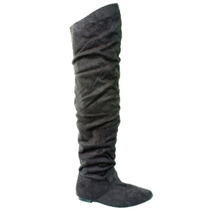 VICKIE HI SUEDE - Flat Fashionable Over The Knee High Boots