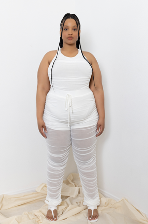04 MESH RUCHED JOGGERS WHITE