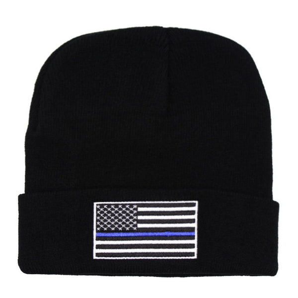 Thin blue/ red line beanie USA flag fire fighter beanies Support Police Law Enforcement