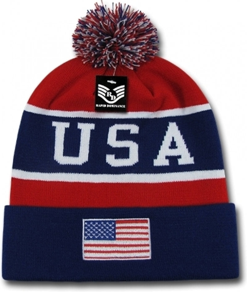RapDom USA Flag Mens Knit Beanie Cap with Ball [Navy Blue/Red]