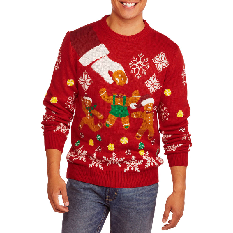 Runaway Gingerbread Man Big Men's Ugly Christmas Sweater, 2XL