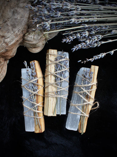 Chunky Selenite + Palo Santo smudge bundle