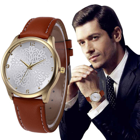 New Mens Watches 2017 Faux Leather Band Analog Alloy Quartz Wrist Watch Wristwatches For Men Clock Relogio Masculino Saat #523
