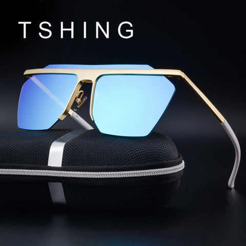 TSHING Fashion Mirror Rimless Men Polarized Sunglasses Women Luxury Square Coating Driving Sun Glasses With Glasses Case