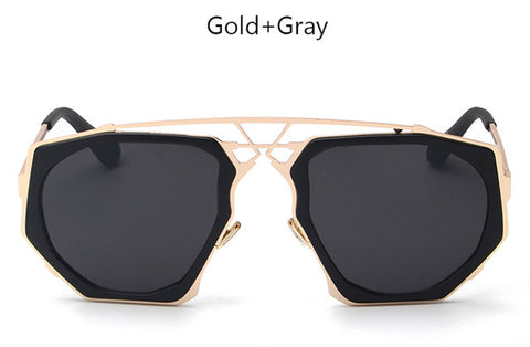 TSHING New Men Oversized Steampunk Sunglasses Vintage Fashion Unique Metal Hollow Frame Steam Punk Mirror Sun Glasses For Women