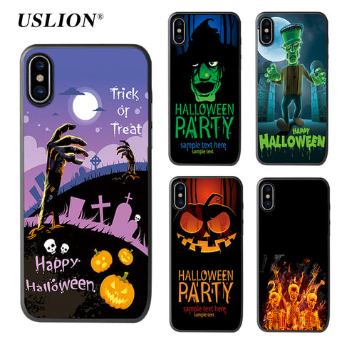 USLION Happy Holloween Phone Case For iPhone X Pumpkin Ghosts Skeleton Print Ultra Slim Soft TPU Full Cover Cases For iPhoneX