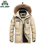 AFS JEEP 2017 white duck down winter jacket men's thickening casual warm nagymaros collar jacket winter hooded brand coat parkas