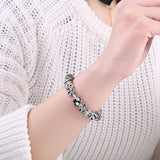 Crystal Beads Charms Bracelet 925 Enamel Silver For Women With Safety Chain Strand Bracelet Bangle Mother's Day Gift - MISSTLY