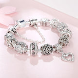 Women Bracelet 925 Unique Silver Crystal Charm Bracelet for Women DIY Beads Bracelets & Bangles Jewelry Gift - MISSTLY