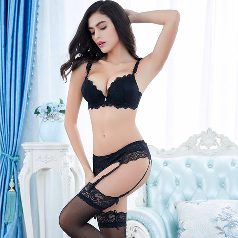 Gather sexy adjustment push up bra set 4 piece bra+panties+garter+stockings - MISSTLY