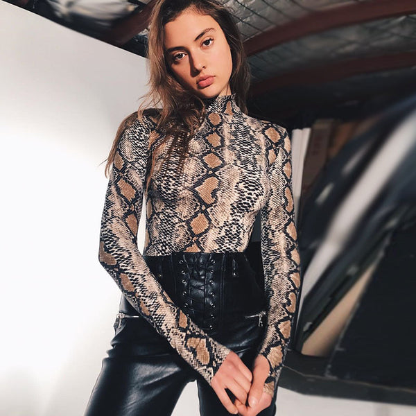 Turtleneck sexy bodysuit snakeskin print bodycon women jumpsuit romper body autumn catsuit long sleeve tops - MISSTLY