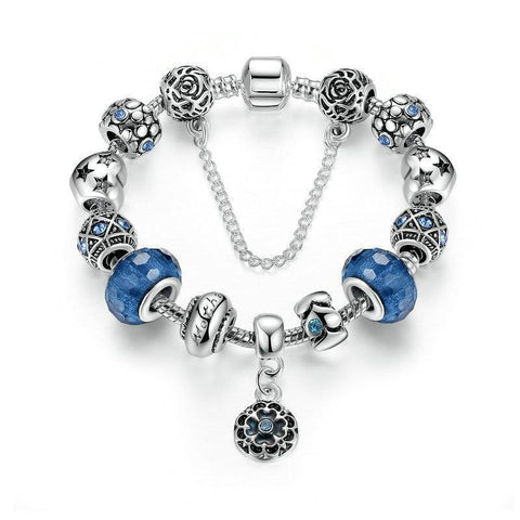 Silver Color Snake Chain Charm Bracelets & Bangles with Safety Chain & Glass Beads Bracelet for Women PA1494 - MISSTLY