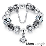 Silver Original Glass Bead Strand Bracelet for Women With Safety Chain & Crystal Fashion Jewelry 18CM 20CM 21CM PA1836 - MISSTLY