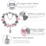 Spacer Silver Heart Charm Bracelet Fit Original Bracelet for Women DIY Crystal&Glass Beads Authentic Jewelry Mother's Day - MISSTLY