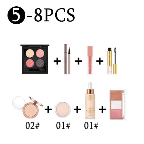 Makeup set 8 PCS Face Powder Foundation Concealer Blush Kit Eyeshadow Eyeliner Mascara Lip Gloss Ladies Makeup Kit Gift - MISSTLY