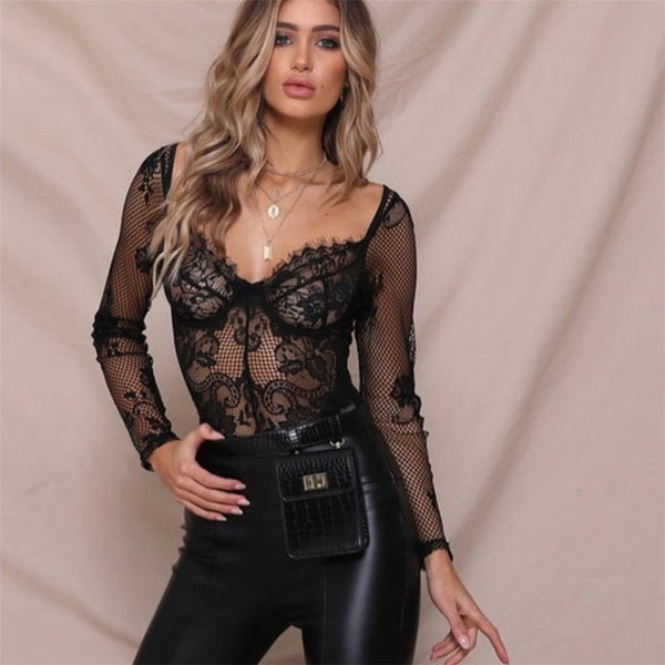 Mesh splice eyelash lace bodysuit hollow out sexy long sleeve jumpsuit romper autumn women bodysuits catsuit - MISSTLY
