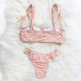 Button lovely girls swimwear Pink ruffled bikinis woman Strappy bathing suit women biquini Push up sexy swimsuit new - MISSTLY
