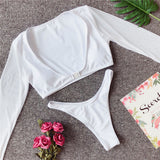 Bikinx Long sleeve brazilian bikini High cut white swimsuit Thong swimwear women bathers Micro bikini mesh swimming summer - MISSTLY