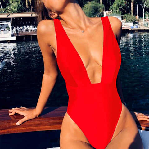 Sexy red one piece women bodysuit Push up V neck bathing suit swimwear overall Summer sleeveless female solid playsuit - MISSTLY
