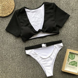 Bikinx T-shirt swimsuit female Buckle Brazilian bikinis mujer Knot sports swimwear women Thong bikini two-piece suit beach - MISSTLY