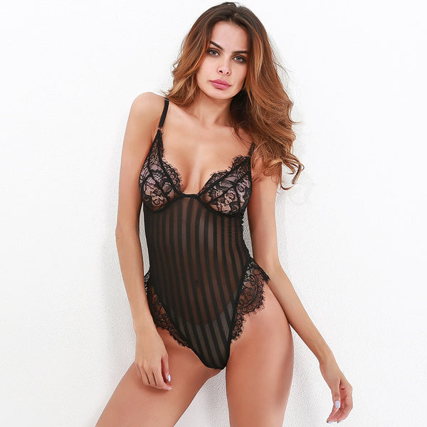 V neck spaghetti strap lace bodysuit women sheer body teddy transparent stripe sexy jumpsuit romper 2018 bodysuits - MISSTLY