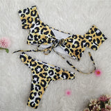 Brazilian thong bikini Off shoulder swimsuit female Leopard swimwear high waist bikinis woman bathing suit bathers - MISSTLY