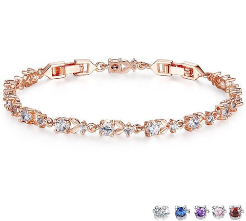 Luxury Rose Gold Color Chain Link Bracelet for Women Ladies Shining AAA Cubic Zircon Crystal Jewelry JIB013 - MISSTLY