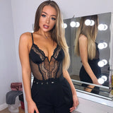 Deep V fashion lace sexy bodysuit women patchwork mesh transparent female jumpsuit slim body mujer hot catsuit - MISSTLY