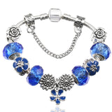 Silver Plated Charm Bracelet For Women With Nice Glass Beads Bracelet Pulsera Jewelry Gift - MISSTLY