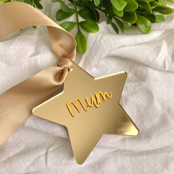 Gold Mirror Star Acrylic Personalised Christmas Decoration