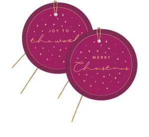 Plum + Gold Christmas Gift Tags