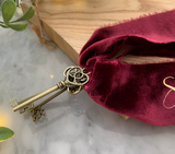 Santas Crushed Velvet Magic Keys - Burgundy + Gold