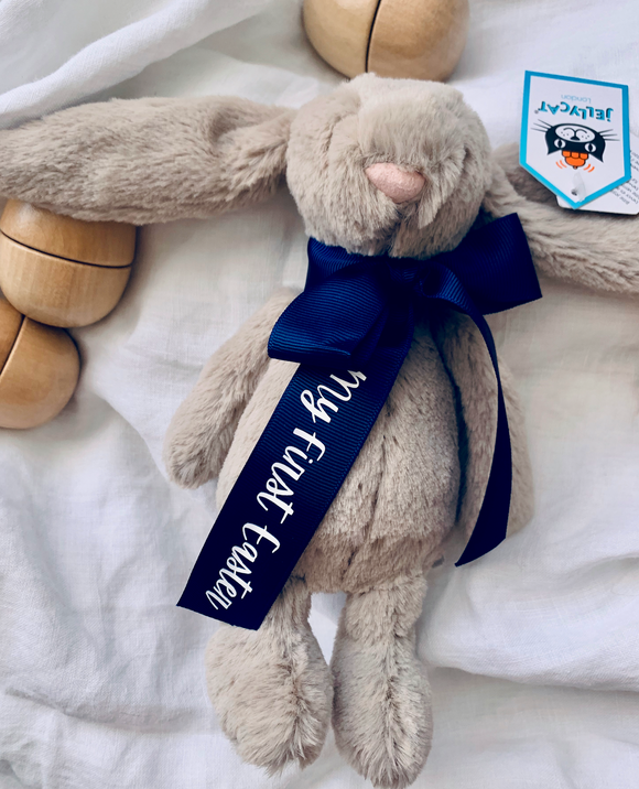 My first Easter Beige Bunny Small Navy Ribbon