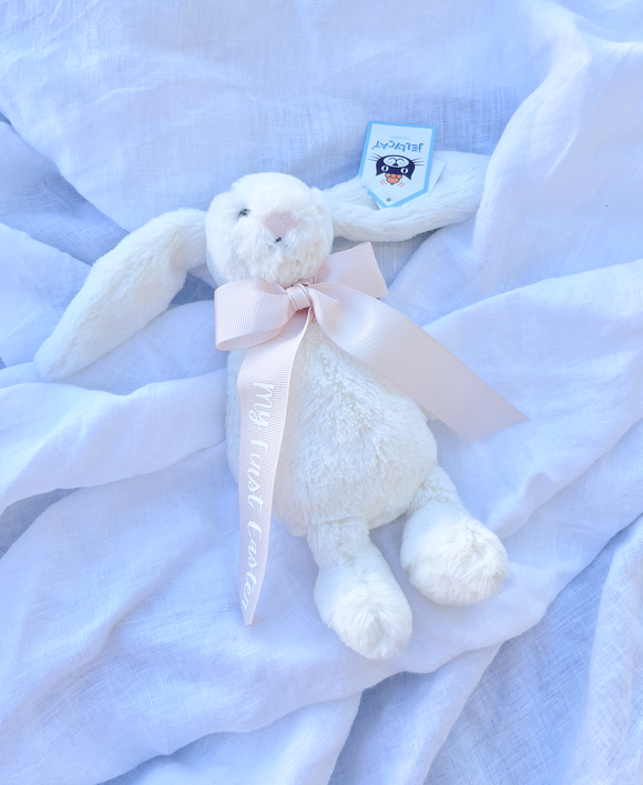 My first Easter Cream Bunny Small Blush Ribbon