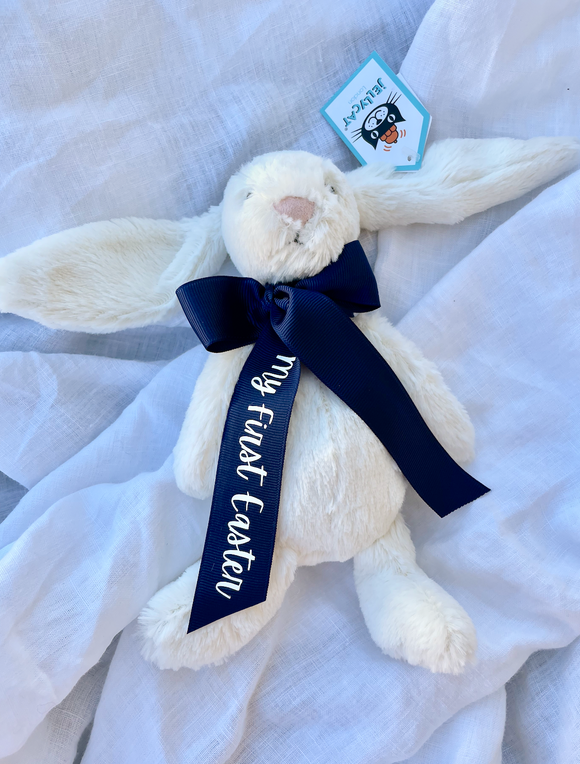 My first Easter Cream Bunny Small Navy Ribbon