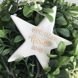 Our first home ceramic christmas ornament star