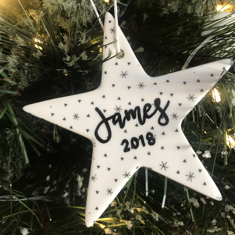 Patterned Personalised Star Ceramic christmas ornament