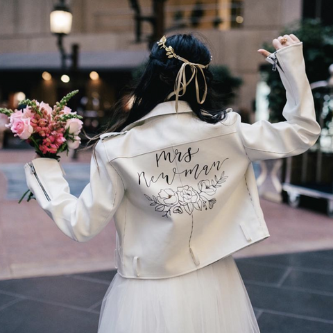 Custom Personalised Bridal Leather Jacket White