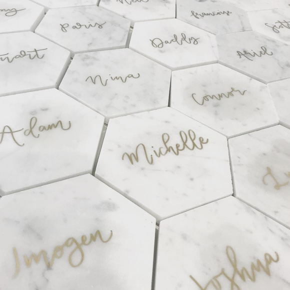 Gold Marble Placecards