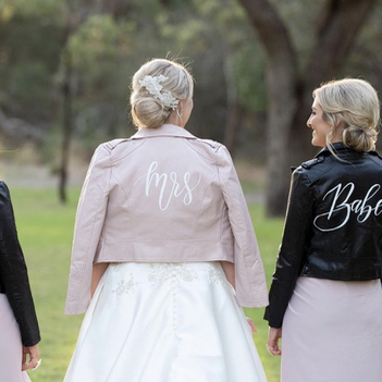 Mrs Blush Leather Bridal Jacket